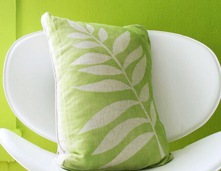 Spray-Paint Leaf Pillow