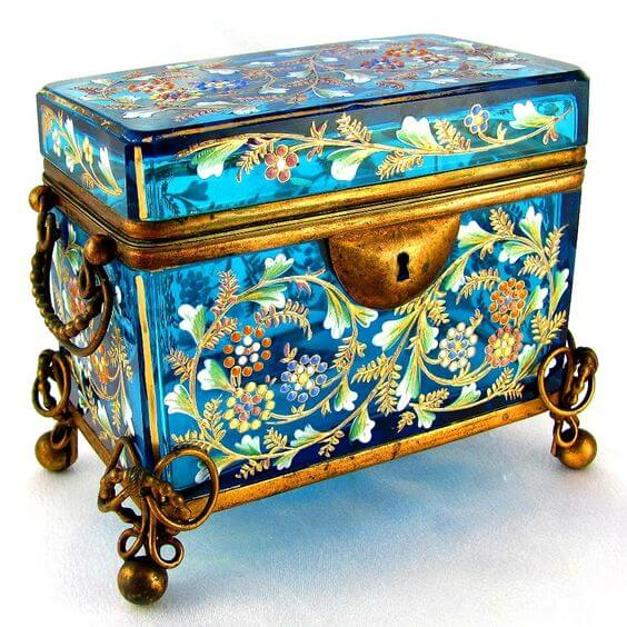 Antique Moser Bohemian Enamel Glass Casket