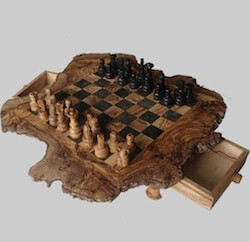 Olive Wood Rustic Chess Set