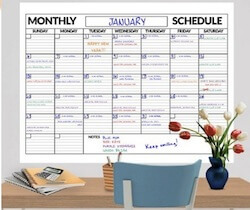 Reusable whiteboard planner