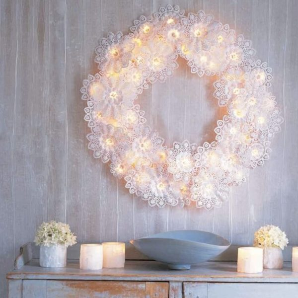 Paper-Doily Wreath Outdoor Christmas Lights