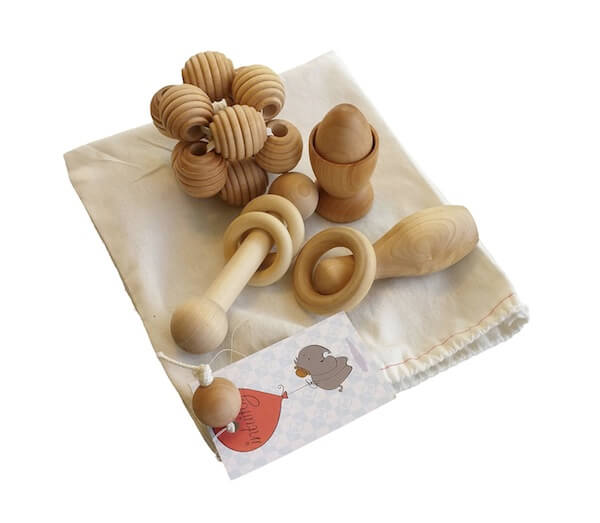 Handmade Natural Wooden Baby Development and Discovery Set